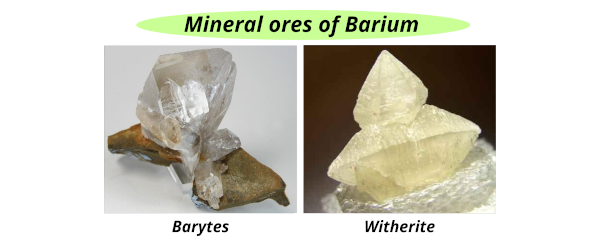 mineral ores of barium (barytes, witherite)