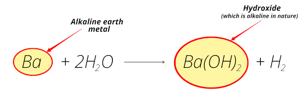reaction of barium (alkaline earth metal) with water equation
