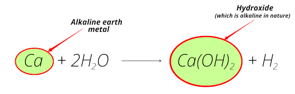 reaction of calcium (alkaline earth metal) with water equation