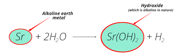 reaction of strontium (alkaline earth metal) with water equation