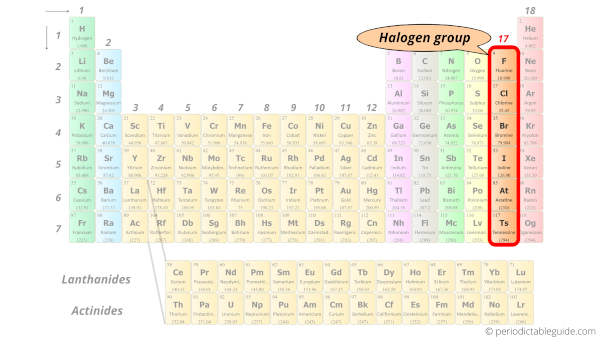 halogen group in Periodic table